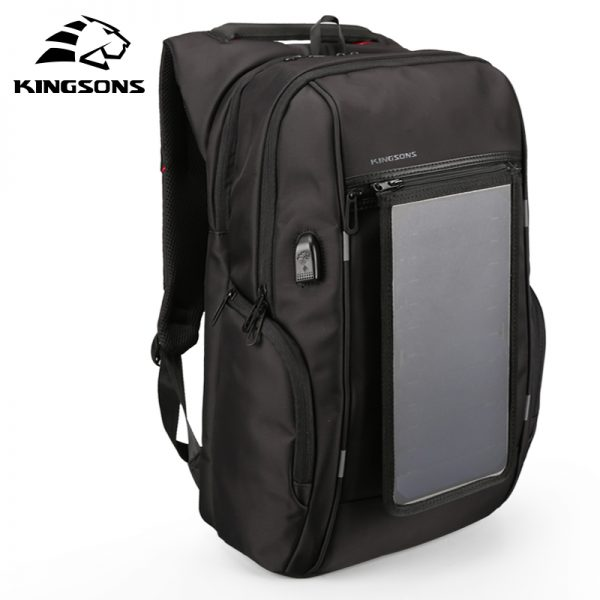 Solar Powered Backpack 15.6 inches USB Charging Bag