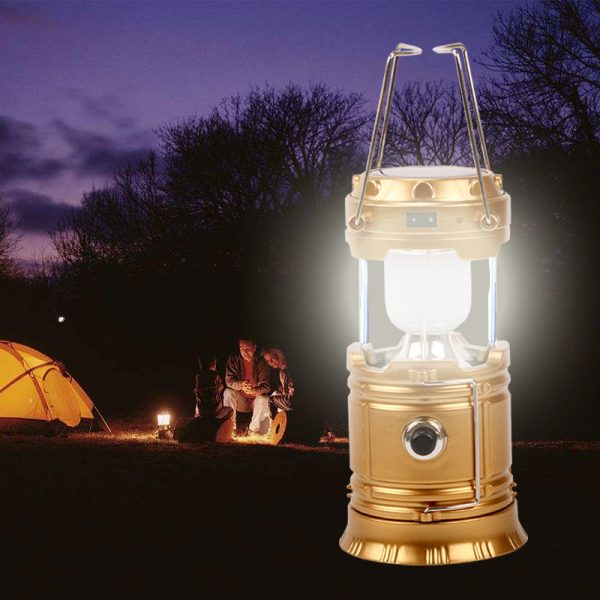 Solar Tent Flashlight - Collapsible & USB Rechargeable