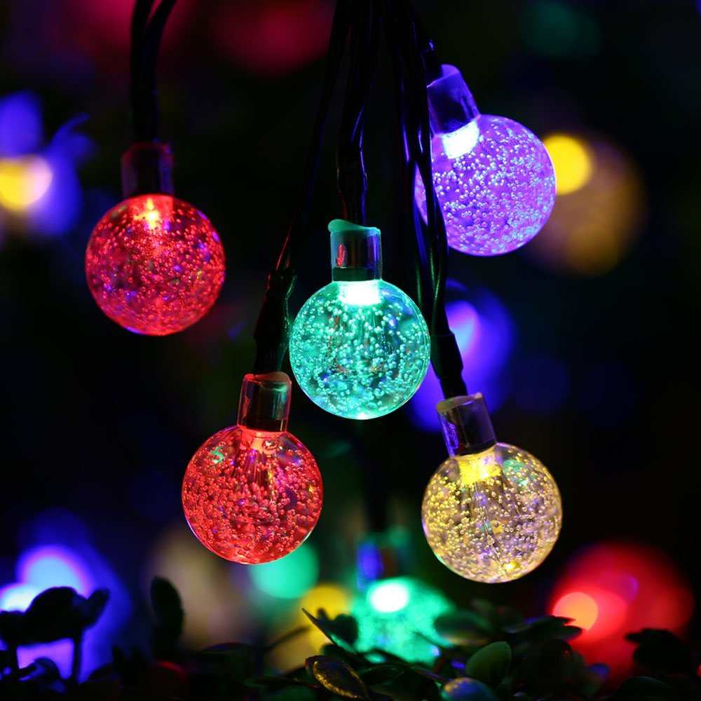 Solar Powered Night Light Color Color Flash Change Crystals Ball LED Lamp