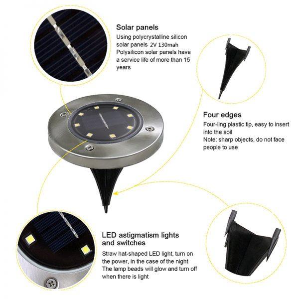Solar Powered Ground Light Waterproof - 8 LEDs