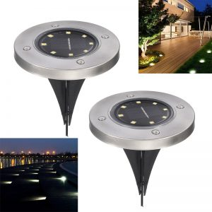 Solar Powered Ground Light Waterproof - 8 LEDs