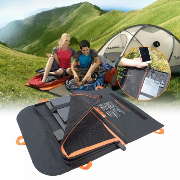 Camping Solar Powered Charger Power Bank Waterproof 13W 2A