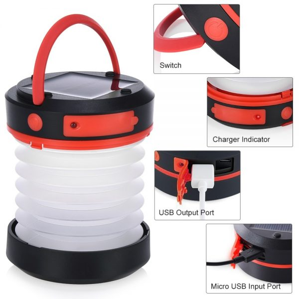 Solar Power LED Camping Portable Lantern