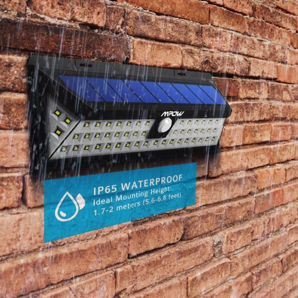 Solar 54 LED Motion Sensor Security Light - Waterproof Wide Angle & Long Range