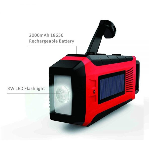 Solar & Hand Crank Portable Generator, Radio & Flashlight