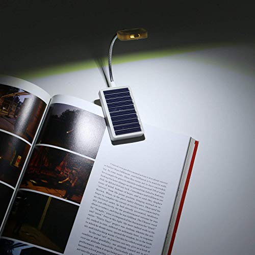 Solar Clip on Book Light,Glovion LED Reading Light USB Rechargeable and Solar Powered,2 Brightness Settings Flexible Neck/& Clip-on-White